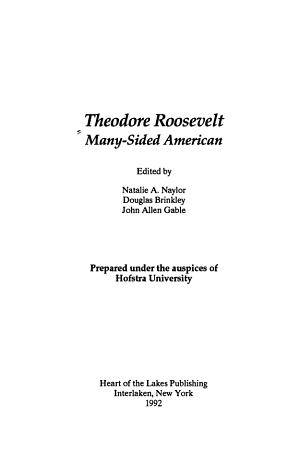Theodore Roosevelt  many sided American PDF
