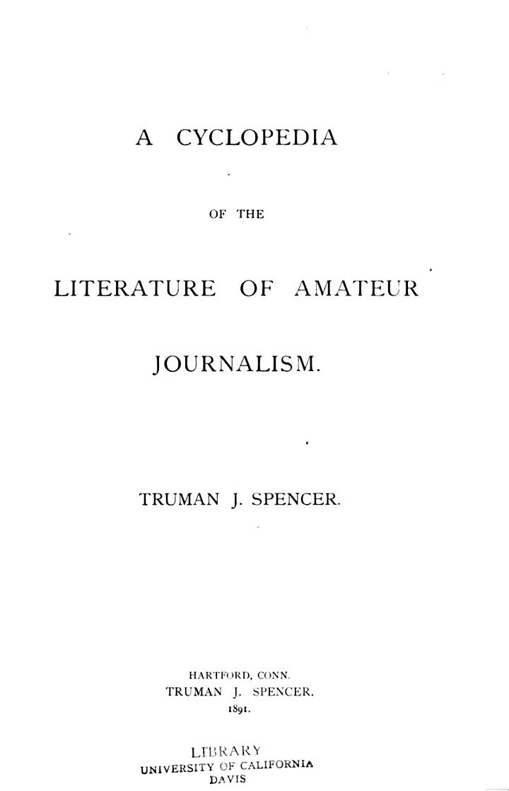 A Cyclopedia of the Literature of Amateur Journalism