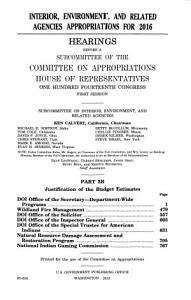 Interior  Environment  and Related Agencies Appropriations for 2016  Part 3 B  2015  114 1 PDF