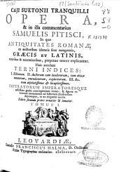 Caji Suetonii Tranquilli Opera, [et] in illa commentarius Samuelis Pitisci: in quo antiquitates romanae ex auctoribus idoneis fere nongentis, Graecis et Latinis, veteribus [et] recentioribus, perpetuo tenore explicantur. Huic accedunt terni indices : I. Editionum. II. Auctorum cum laudatorum, tum obiter notatorum, emendatorum, explicitorum. III. Rerum absolutissimus & locupletissimus. Imperatorum imperatoresque arctissimo gradu contingentium icones : [et] figurae ex veterum monumentis ad historiam illustrandam depromptae, in aes eleganter incisae
