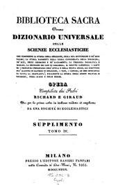 Biblioteca sacra ovvero Dizionario universale delle scienze ecclesiastiche... per la prima volta ... tradotta ed ampliata da una societa di ecclesiastici: Volume 25
