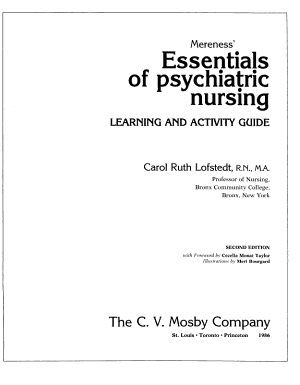 Mereness  Essentials of Psychiatric Nursing  Learning and Activity Guide PDF