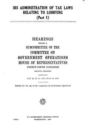 IRS Administration of Tax Laws Relating to Lobbying PDF
