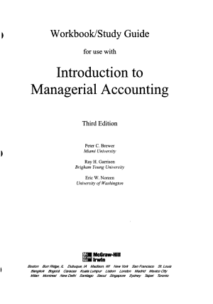 Study Guide Workbook to Accompany Intro to Managerial Accounting PDF