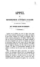 Appel de Monseigneur l'évêque d'Alger en faveur de la chapelle de Notre-Dame-d'Afrique