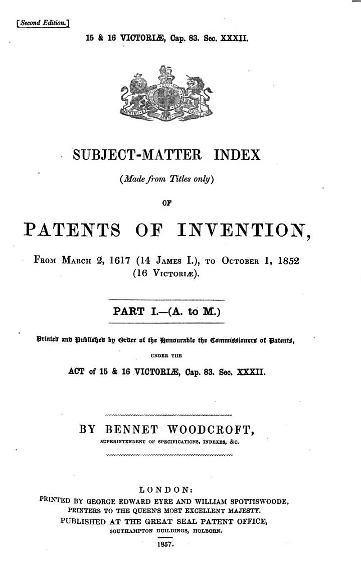 Subject-matter Index of Patents Applied for and Patents Granted, for the Year ...