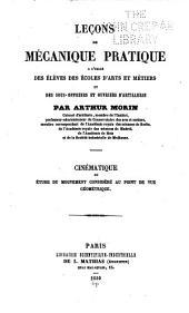 Leçons de mécanique pratique ...: cinématique ou étude du mouvement considéré au point de vue géométrique, Volume5