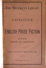 Catalogue of English Prose Fiction, Including Juveniles and Translations