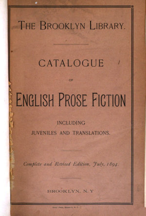 Catalogue of English Prose Fiction  Including Juveniles and Translations PDF