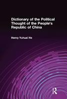 Dictionary of the Political Thought of the People s Republic of China PDF