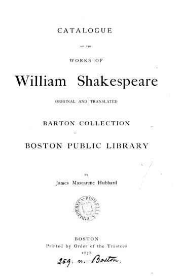 Catalogue of the Barton collection  2 pt   in 3 vols   PDF