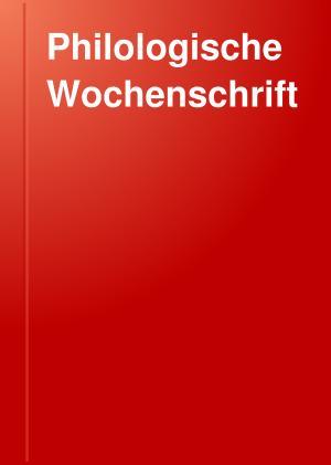 Philologische Wochenschrift PDF