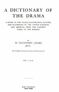 A Dictionary of the Drama PDF