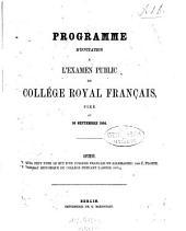 Quel peut etre le but d'un College francais en Allemagne?: 1853/54