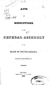 Acts and Joint Resolutions of the General Assembly of the State of South Carolina PDF