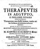 Diss. acad. ex historia philos. de Therapeutis in Aegypto