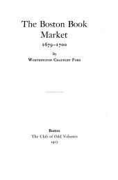The Boston Book Market, 1679-1700
