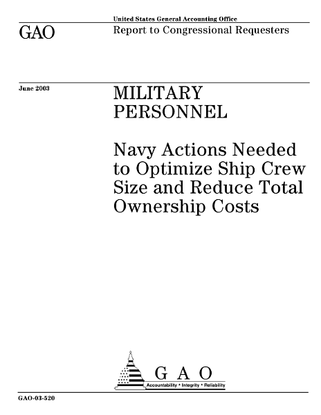 Military personnel Navy actions needed to optimize ship crew size and reduce total ownership costs.