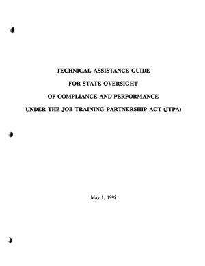 JTPA  State Oversight  Technical assistance guide for state oversight of compliance and performance under the Job Training Partnership Act  JTPA