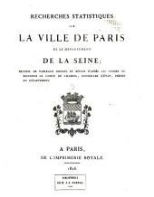 Recherches statistiques sur la ville de Paris et le département de la Seine: Volume3