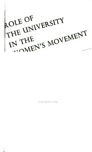 Role of the University in the Women s Movement PDF