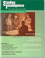 Studies In Intelligence Journal Of The American Intelligence Professional V 53 No 4 December 2009  Book PDF