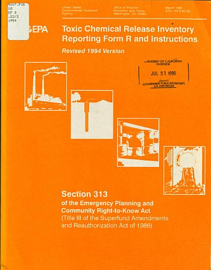 Toxic Chemical Release Inventory Reporting Form R and Instructions PDF