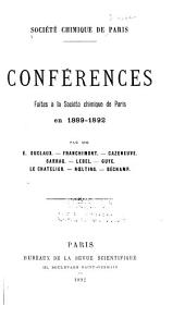 Conférences, faites à la Société chimique de Paris
