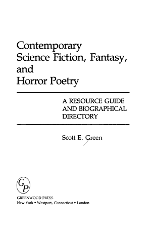 Contemporary Science Fiction  Fantasy  and Horror Poetry PDF