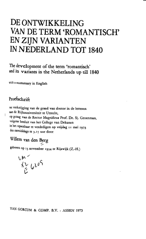 De Ontwikkeling Van De Term Romantisch En Zijn Varianten In Nederland Tot 1840