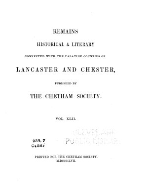 A History of the Ancient Chapels of Didsbury and Chorlton  in Manchester Parish