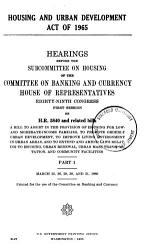 Housing And Urban Development Act Of 1965 Book PDF