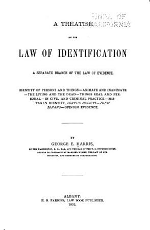 A Treatise on the Law of Identification PDF