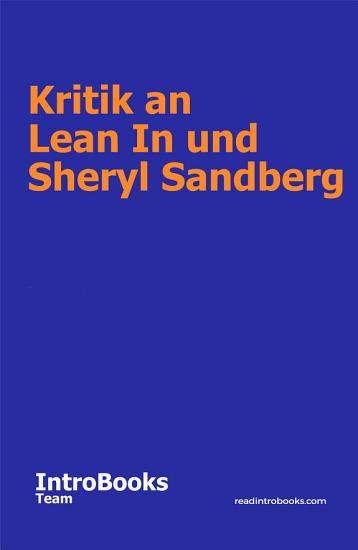 Kritik an Lean In und Sheryl Sandberg PDF