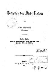 Geschichte der Stadt Rostock: Band 1