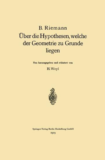 ber die Hypothesen  welche der Geometrie zu Grunde liegen PDF