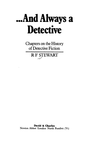 And Always a Detective