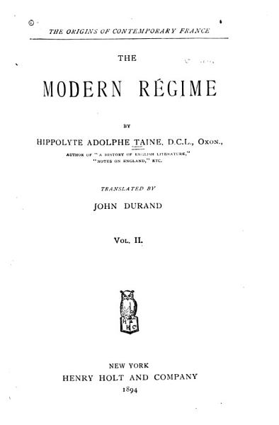Download The Origins of Contemporary France  The modern r  gime Book
