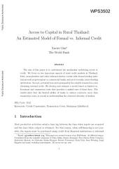 Access to Capital in Rural Thailand: An Estimated Model of Formal Versus Informal Credit