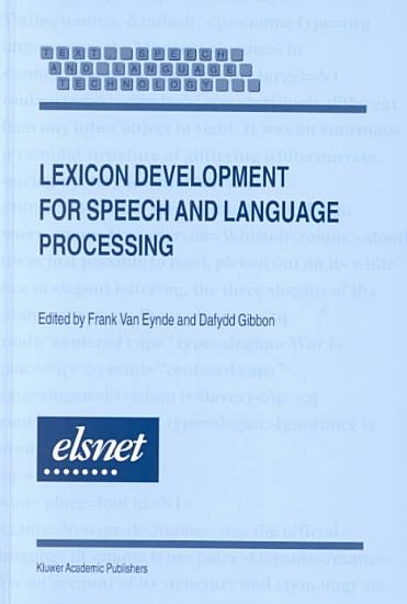 Lexicon Development for Speech and Language Processing PDF