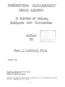 Predicting Adolescent Drug Abuse PDF