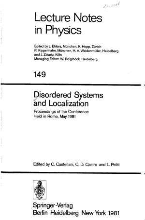 Disordered Systems and Localization