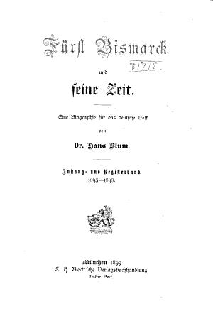 F  rst Bismarck und seine zeit PDF