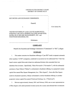 Viktor Novosselov  a k a David Markowitz   Igor Malyar  a k a George Falcone and Michael Safir   Blue Square Management  Inc   and Westwood Holdings  Inc   Securities and Exchange Commission Litigation Complaint PDF