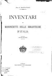 Inventari dei manoscritti delle biblioteche d'Italia: Volume 2