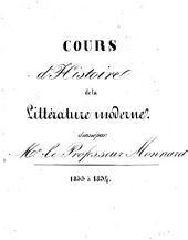 Cours d'histoire de la littérature moderne: (semestres) 1833 à 1834