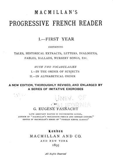 Macmillan s Progressive French Reader PDF