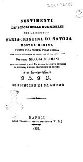 Sentimenti de'popoli delle due Sicilie per la defunta Maria-Cristina di Savoja, nostra Regina