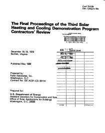 The Final Proceedings of the Third Solar Heating and Cooling Demonstration Program Contractors  Review  December 16 19  1979  Norfolk  Virginia PDF