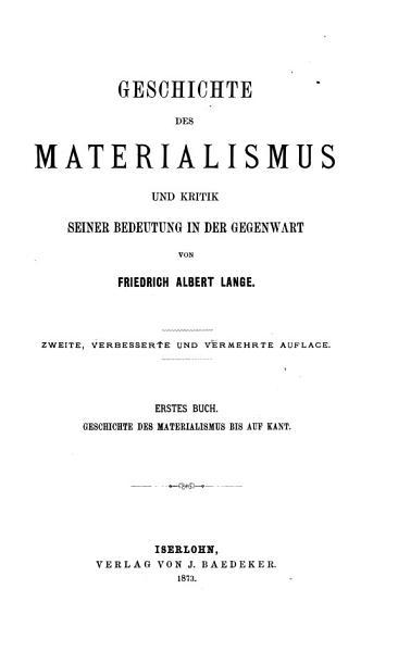 Geschichte Des Materialismus Und Kritik Seiner Bedeutung In Der Gegenwart Buch Geschichte Des Materialismus Seit Kant